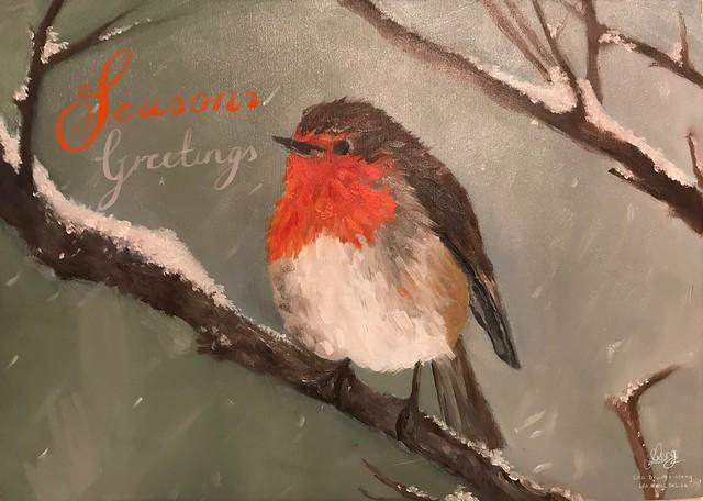 Seasons Greetings, from @GarethWong, oil painting by artist Léa Brunet Wong
