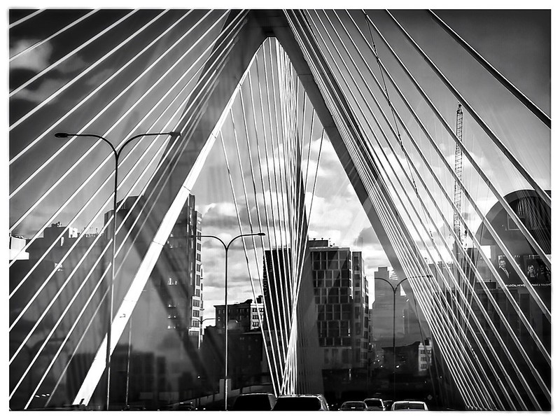 Driving over the Zakim (with Hipstamatic Kally X3  lens) | Boston