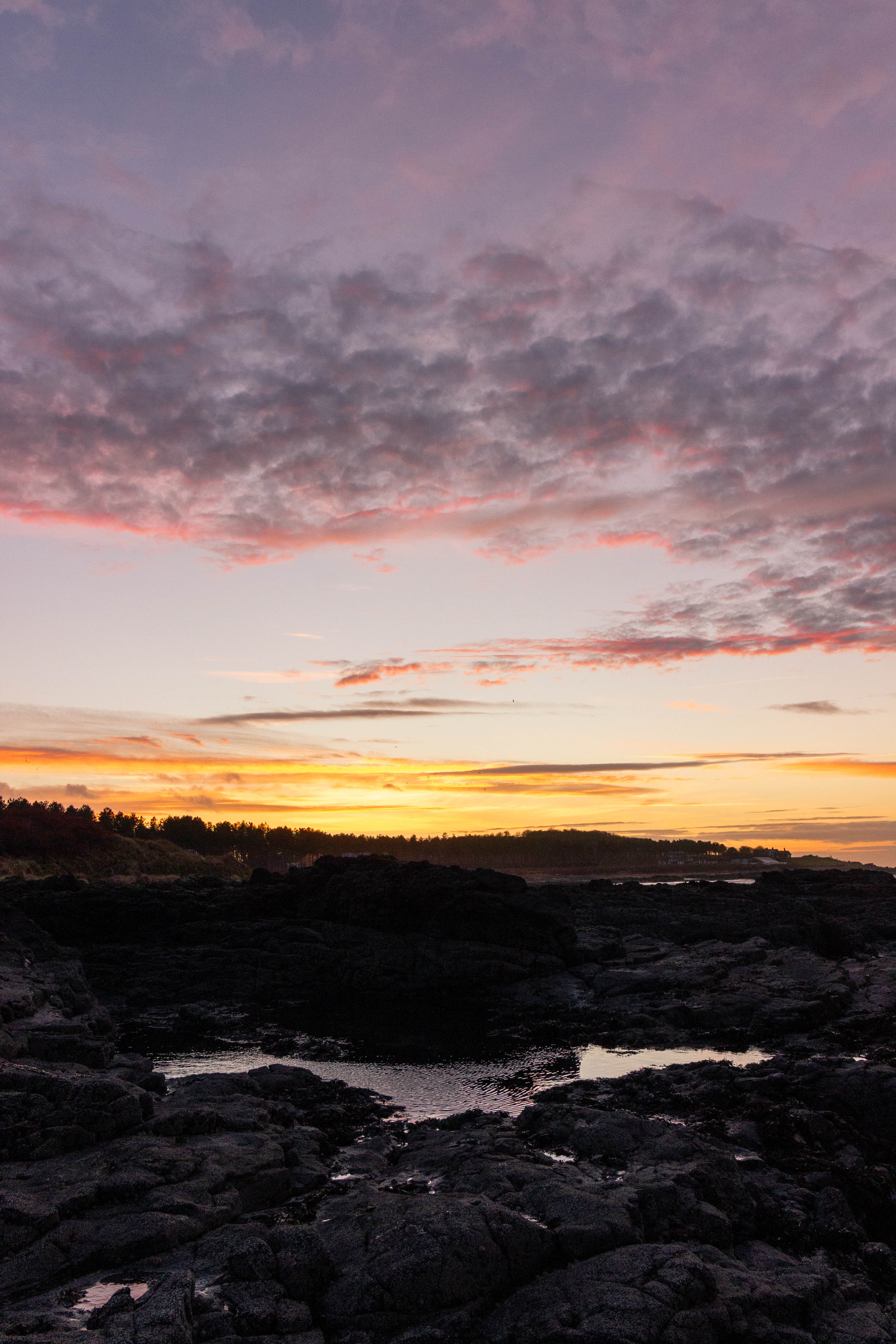 Sunset over a rockpool at Yellowcraig Beach