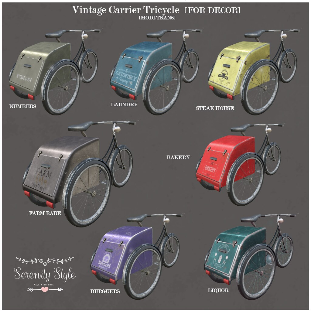 Serenity Style-Vintage Carrier Tricycle for Decor KEY