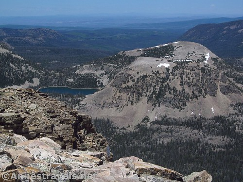 Kamas Lake and surrounding peaks with views out to the plains of Wyoming from Bald Mountain, Uinta Mountains, Utah