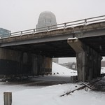 Snowy Closed Business 40 in downtown Winston-Salem: Cherry Street bridge and banking towers