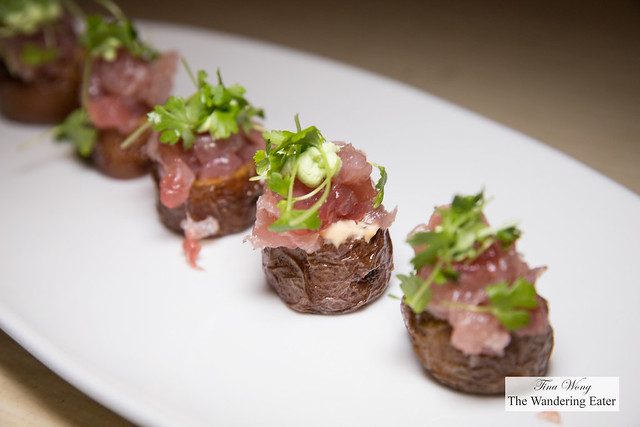 Tuna Tartare Potato Skins, scallion cream