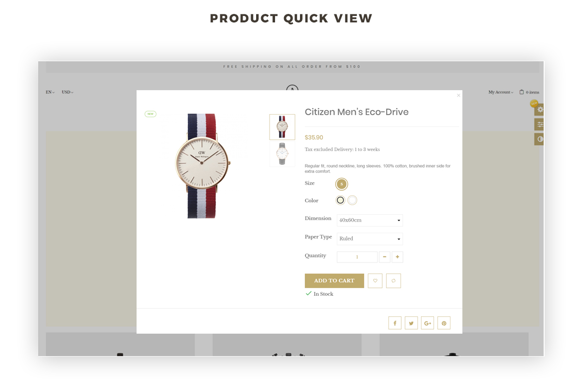 Product quickview - Hand Watch online store