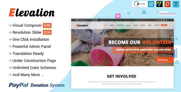 ELEVATION v2.2.6 – Charity/Nonprofit/Fundraising WP Theme
