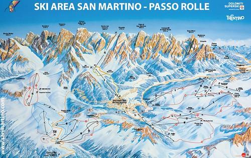S. Martino di Castrozza Passo Rolle - mapa sjezdovek