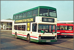 southernvectis iosw island isleofwight volvo olympian 744 ryde 7c esplanade ticket service sun bus stuff yellowpages advert jrhartley flyfishing directory scan nineties transport green cream