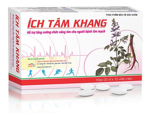 Tpbvsk Ích Tâm Khang giúp giảm khó thở, mệt, đau ngực, ho, phù cho người bệnh tim mạch
