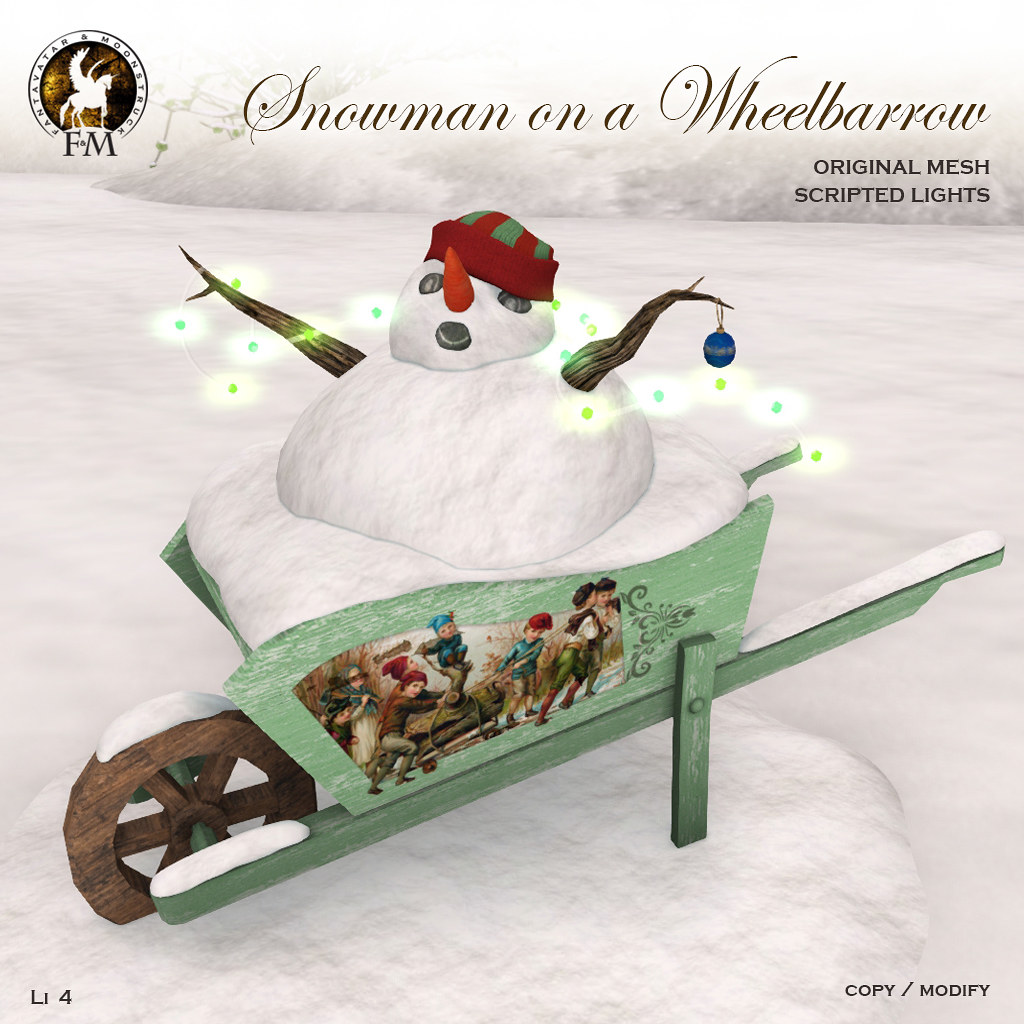 F&M *Snowman on a Wheelbarrow * GROUP GIFT