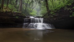 """Image by the_lowe_life (jwlowe) and image name """"Run for the Rhodies"""" photo  about While many were watching the Kentucky derby, myself and a couple of friends enjoyed a weekend in the Red River Gorge, Kentucky. This is Creation Falls, one of the most popular locations in the area. We all braved the freezing temps to wade out in to the stream and capture this aspect."""