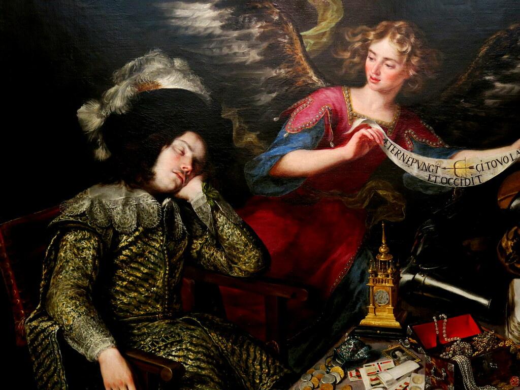 """El sueño del caballero, fragmento, Antonio de Pereda (1611-1678). Óleo sobre lienzo, leyenda= """"eternamente hiere, vuela veloz y mata"""","""