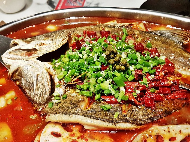 Grilled Sea Bass Fish In Mala Soup Base