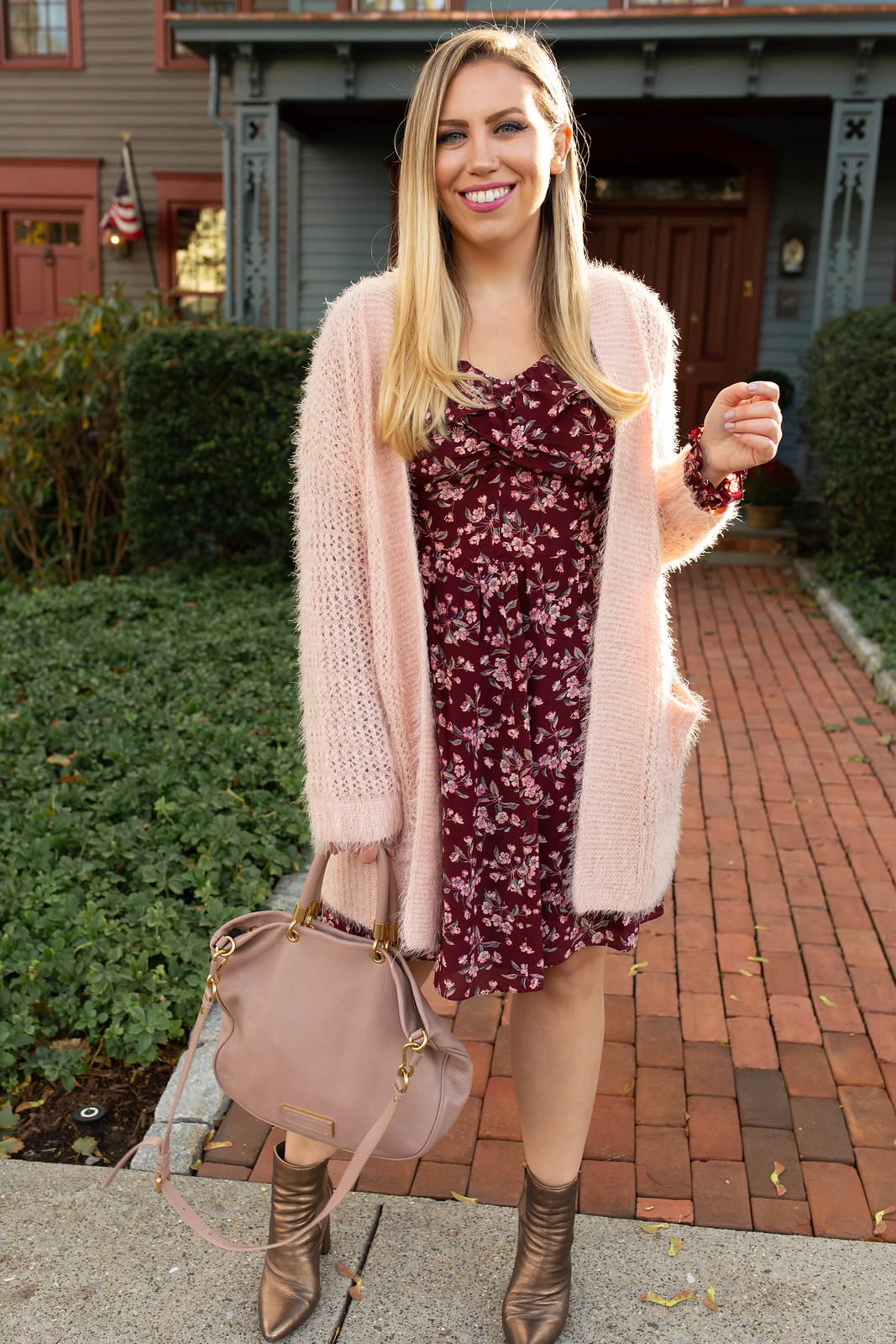 Pretty in Pink Layers for January Nordstrom Westchester Pink Cardigan Rebecca Taylor Floral Dress Jackie Giardina