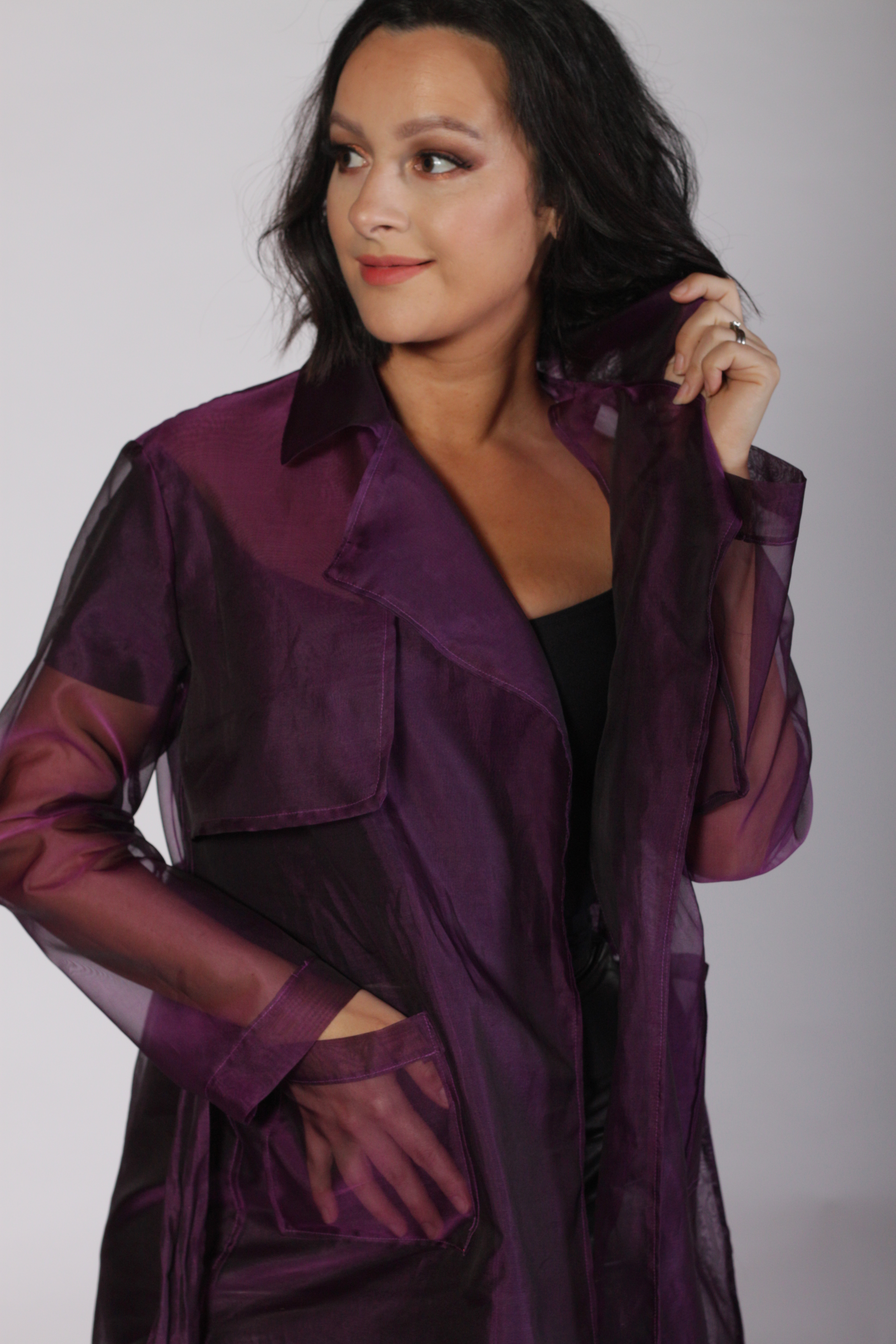 Purple Organza Trench Coat