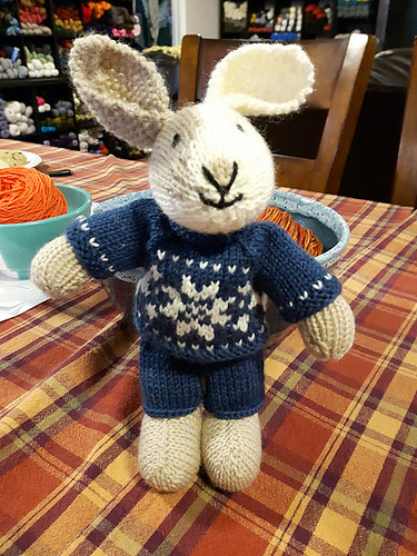 Linda knit a Boy Bunny for our class...