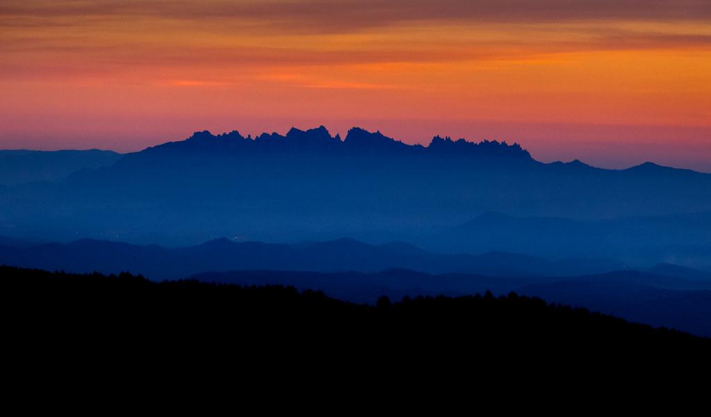 Montserrat from Rasos de Peguera sunset 1