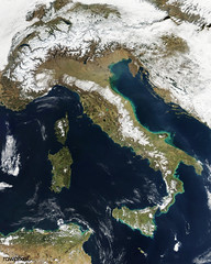 Snow, which tends to be generally less bright that clouds, covers the Alps in the north of Italy. Original from NASA. Digitally enhanced by rawpixel.