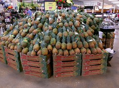 Peculiar pineapple display