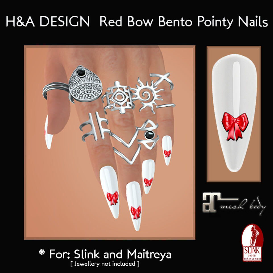 [H&A Designs] - Red Bow Bento Pointy Nails - TeleportHub.com Live!