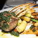 Frenched Lamb Chops, marinated & seared, roasted vegetables & fingerling potatoes