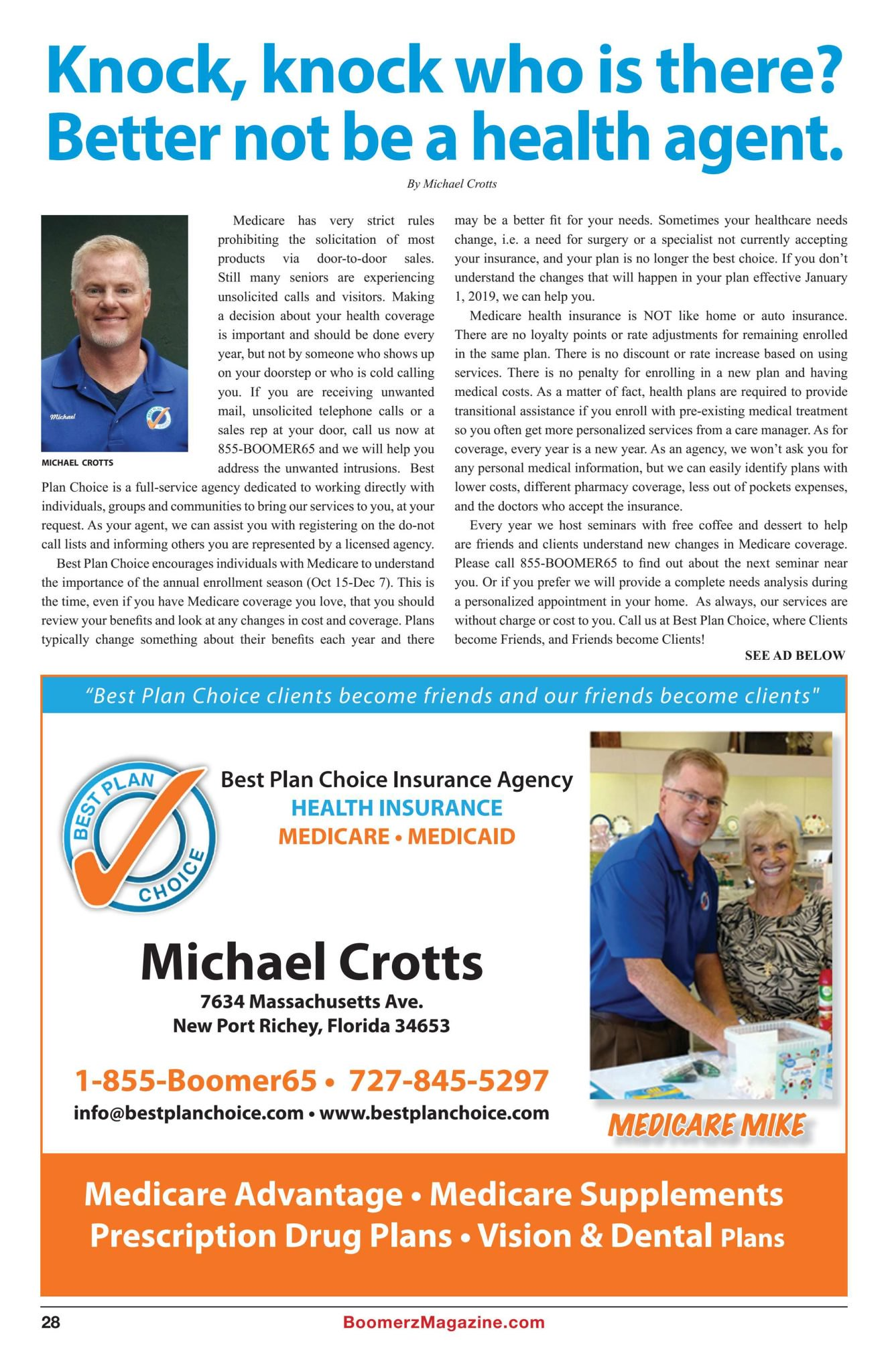 Boomerz Magazine 2018 November Best Plan Choice Insurance Agency Michael Crotts
