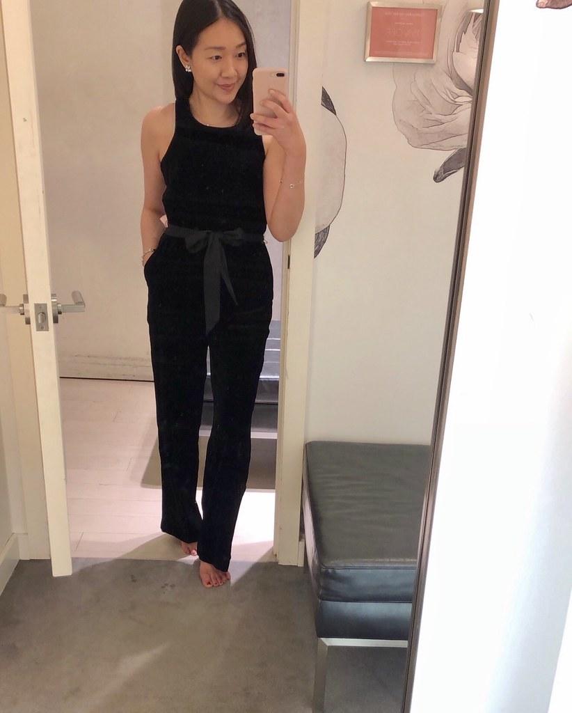 Ann Taylor Velvet Halter Jumpsuit, size 0P