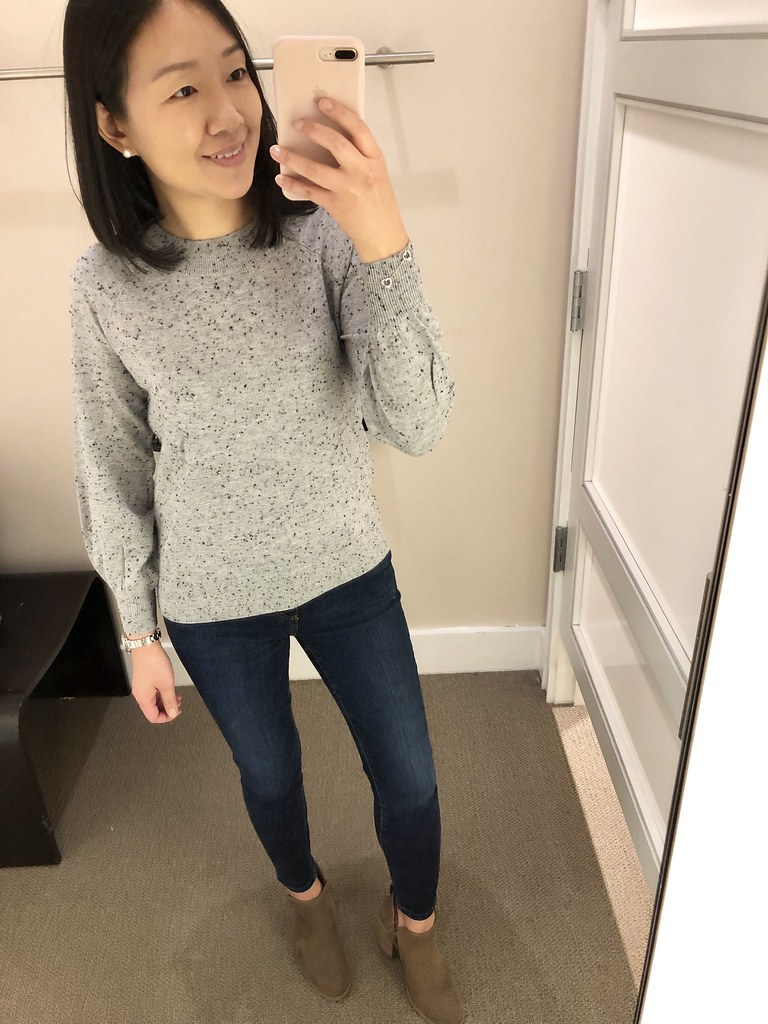 LOFT Speckled Draped Sleeve Sweater, size XSP