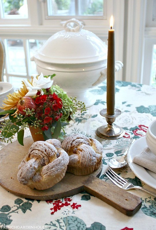Autumn-French-Country-Soup-Dinner-for-two-french-antique-soup-tureen-flowers-in-greenhouse-pots