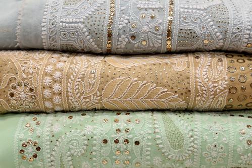 Hand embroidered Lucknowi Chikankari tusser silk sarees