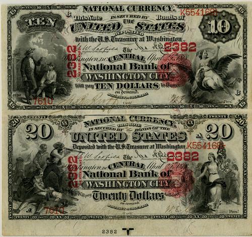 Lot 185. Central NB of Washington City, 1875, $10-20, Ch# 2382. Est.$35,000-$45,000