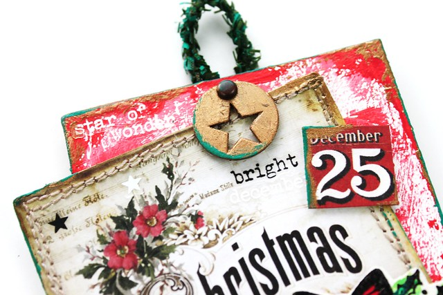 Meihsia Liu Simply Paper Crafts Mixed Media Christmas Tag Stitch It Up Tim Holtz Simon Says Stamp 3