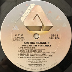 ARETHA FRANKLIN:LOVE ALL THE HURT AWAY(LABEL SIDE-B)