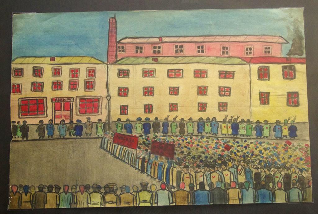 10. Демонстрация возле фабрики с лозунгом «Свобода слова!» Неизвестный автор. Москва, 1917