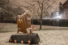 War memorial Silent Soldier snow