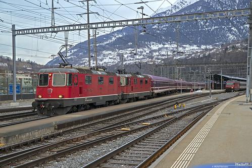 Re 420 11191 + Re 420 11199 SBB-CFF . Abfahrt nach Sierre-Siders . Brig . 23.01.19.