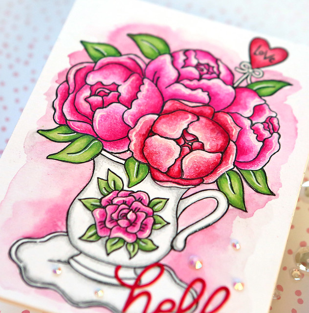 Valentine's Day Watercolor Card 2 close up
