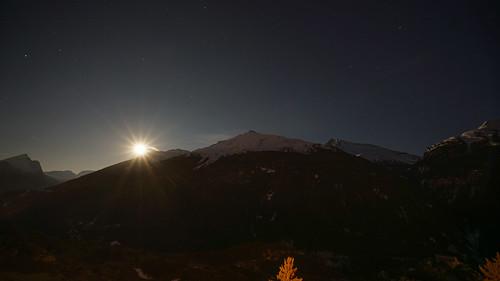 2019-03-22 (08) Lever de pleine lune@Aussois.Fort Marie-Christine ---}Aiguille de Scolette & Fort Victor-Emmanuel