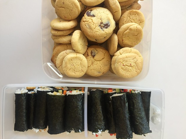sushi and cookies