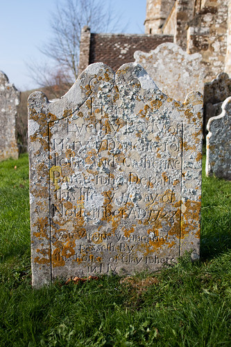 Mary Barge headstone 1723, Litton Cheney