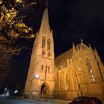 Church of St Walburge at night