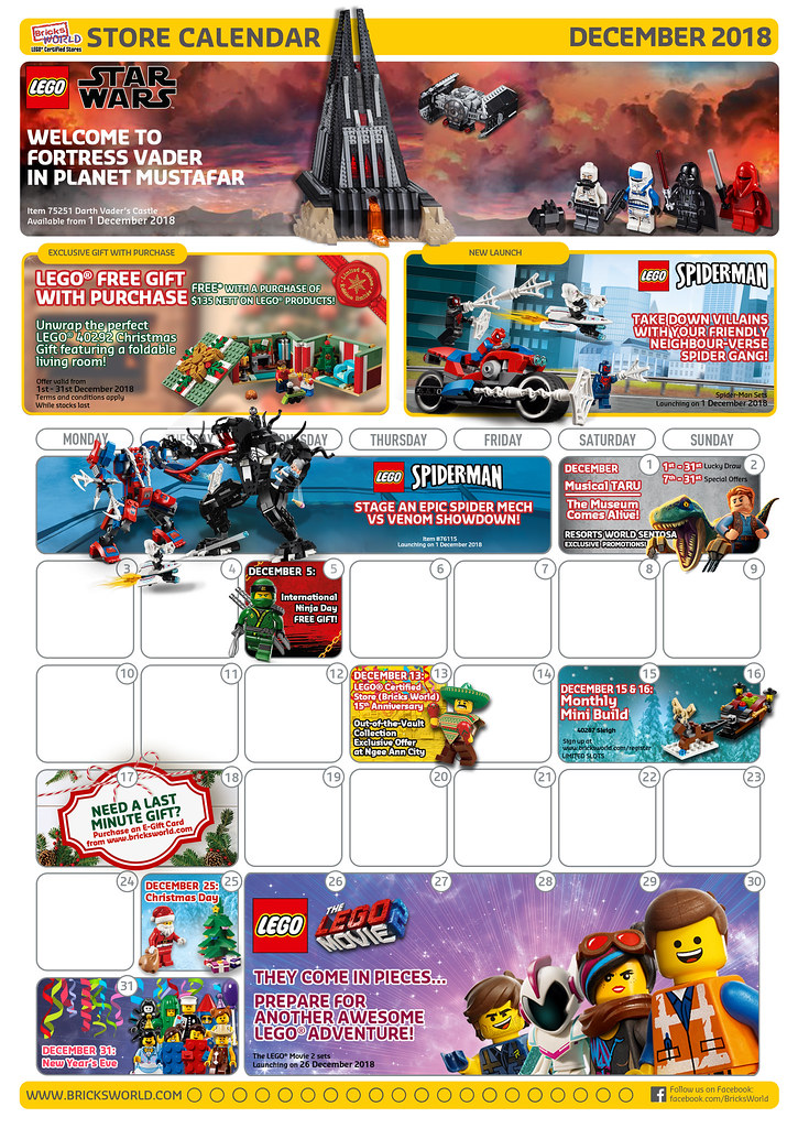 Bricksworld Singapore LEGO Certified Store calendar Front 1018 Dec