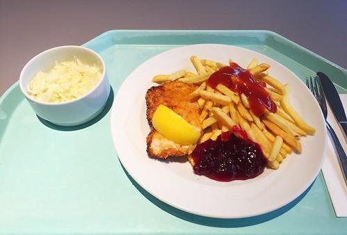 Vienna baked chicken with cranberries & french fries / Wiener Backhendl mit Preiselbeeren & Pommes Frites