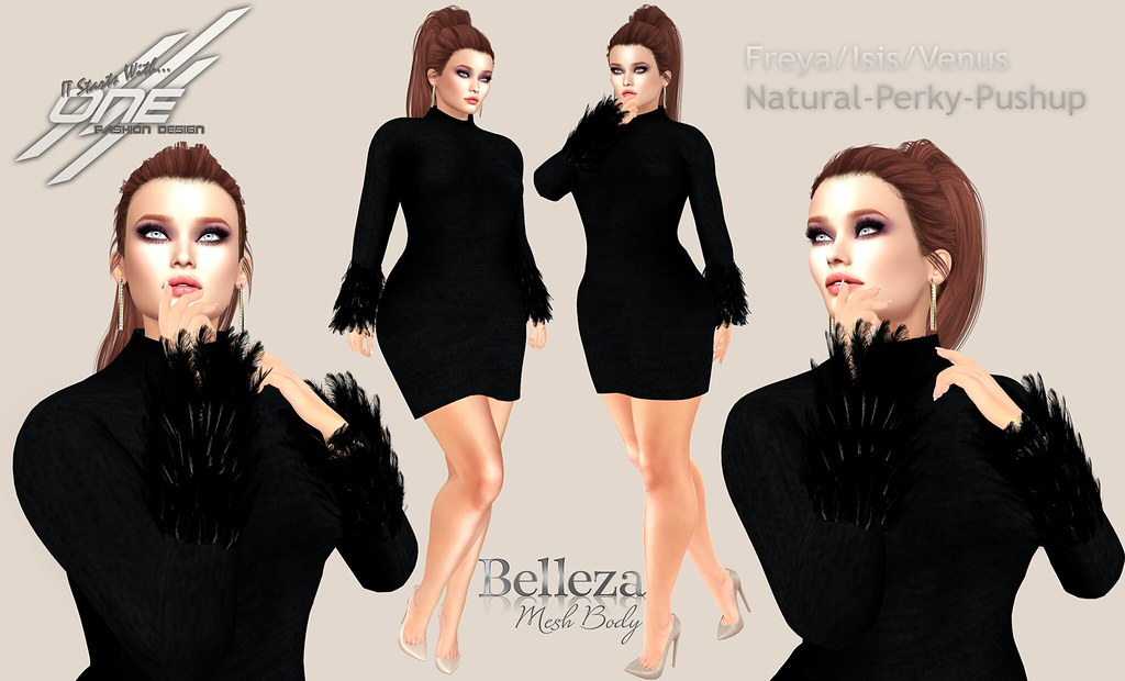 DQ…Feather  Sleeves ( Belleza Bodies)