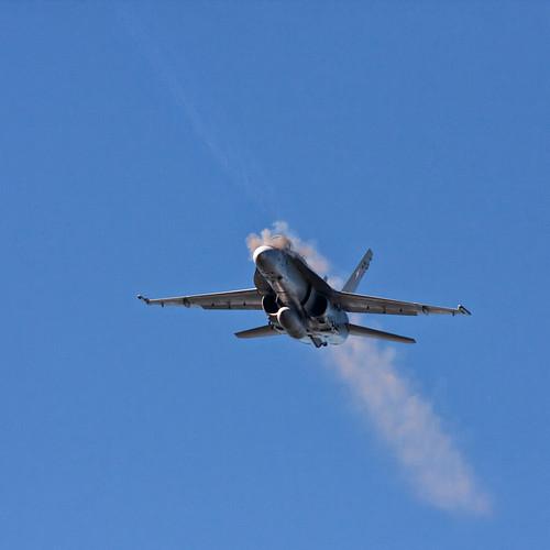 Swiss Air Force F/A-18 Hornet firing its M61 Vulcan cannon