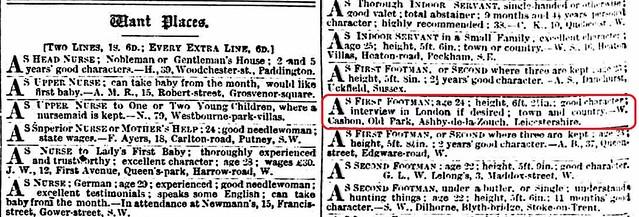 Morning Post 5Mar1884 Wm Casbon 1st footman ad
