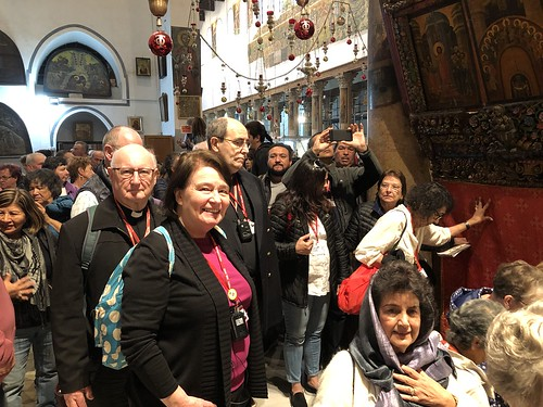 Pilgrims wait to enter the Church of the Nativity
