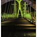 Salford Quays Lift Bridge lit-up in Yellow