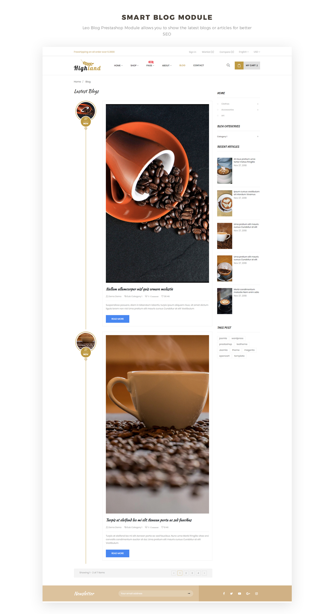 smart blog module - food and drink prestashop theme
