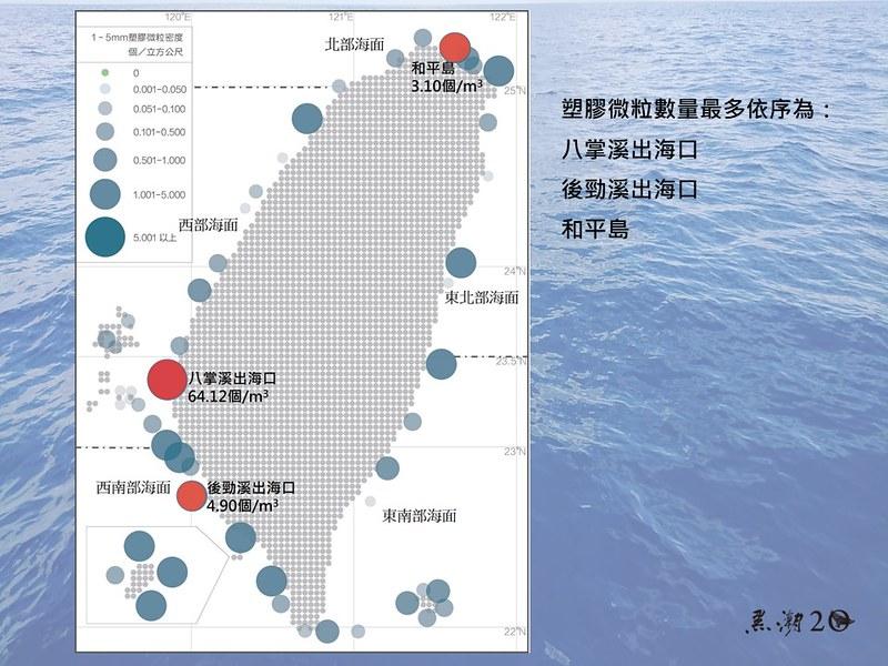 其中又以嘉義八掌溪出海口含量最高,每立方公尺含有64.12顆。黑潮提供