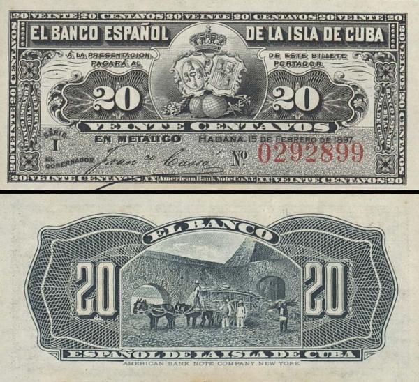 20 Centavos Kuba 1897 P053